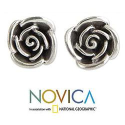 Sterling Silver 'Sweetheart Rose' Flower Earrings (Indonesia)