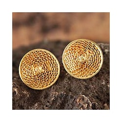 Gold Plated 'Starlit Sun' Filigree Stud Earrings (Peru)