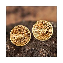 Gold Plated 'Starlit Sun' Filigree Stud Earrings (Peru)