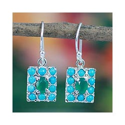 Sterling Silver 'Blue Halo' Multi-gemstone Earrings (India)