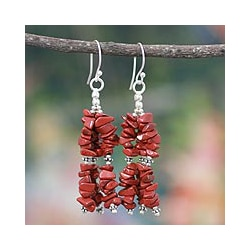 Sterling Silver 'Rejoice' Jasper Waterfall Earrings (India)