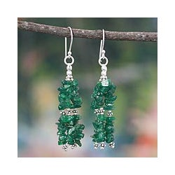 Sterling Silver 'Rejoice' Aventurine Waterfall Earrings (India)