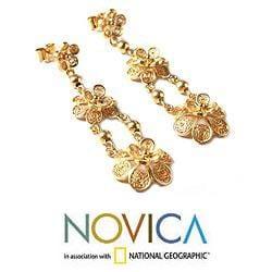 Gold Vermeil 'Garlands' Chandelier Earrings (Peru)