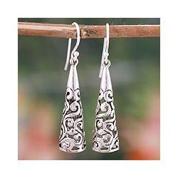 Sterling Silver 'Blossoming Belles' Flower Earrings (India)