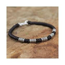 Silver 'Thai Sabai' Polyester Wristband Bracelet (Thailand)