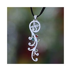 Sterling Silver 'Fern' Multi-gemstone Necklace (Indonesia)