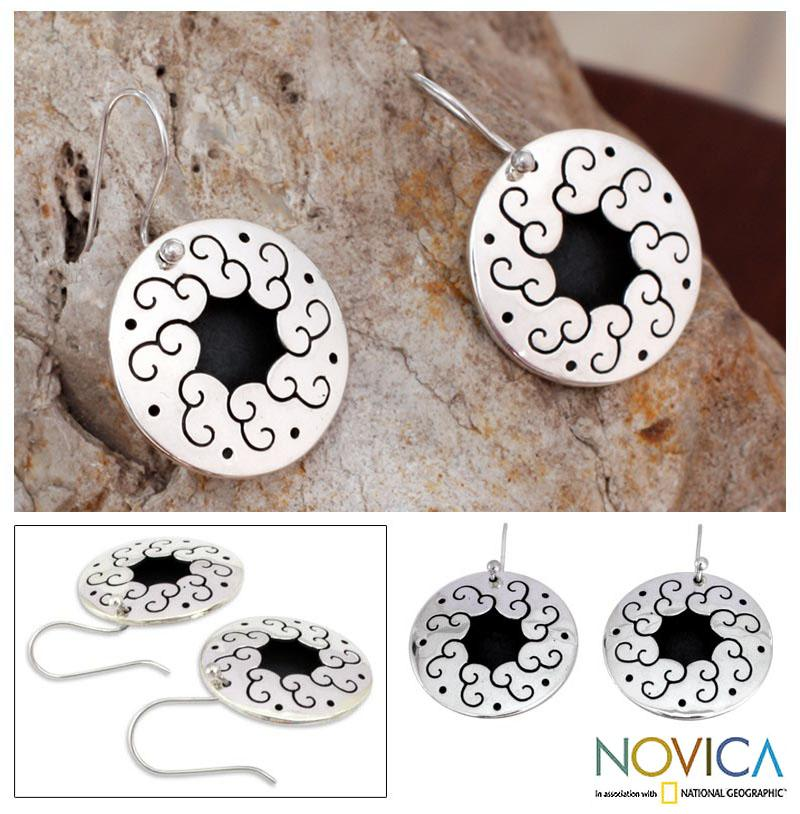 Sterling Silver 'Magical Moons' Flower Earrings (Mexico)
