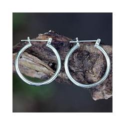 Sterling Silver 'Moonlit Goddess' Hoop Earrings (Indonesia)