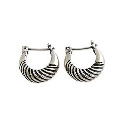 Sterling Silver 'Zebra' Half Hoop Earrings (Indonesia)