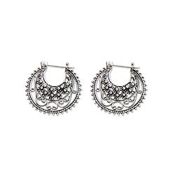 Sterling Silver 'Moonlit Stars' Hoop Earrings (Indonesia)
