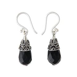 Sterling Silver 'Bali Sentinel' Onyx Drop Earrings (Indonesia)