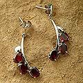 Sterling Silver 'Bright Bombay Blossoms' Garnet Earrings (India)