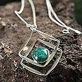 Sterling Silver 'Modern Inca' Chrysocolla Necklace (Peru)