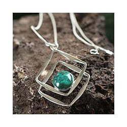 Sterling Silver 'Modern Inca' Chrysocolla Necklace (Peru)
