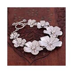 Silver 'Floral Fiesta' Flower Bracelet (Mexico)