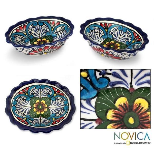 Set of 2 Handcrafted Ceramic 'Daisy Stars' Talavera Bowls (Mexico)