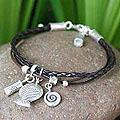 Handcrafted Silver 'Cherish' Leather Charm Bracelet (Thailand)