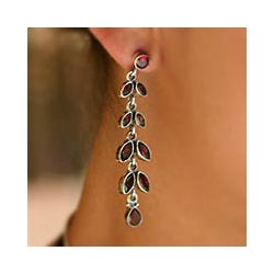 Sterling Silver 'Crimson Leaves' Garnet Floral Earrings (India)