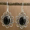 Sterling Silver 'Tribal Flower' Onyx Earrings (India)