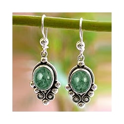 Sterling Silver 'Praise Love' Jade Earrings (Guatemala)