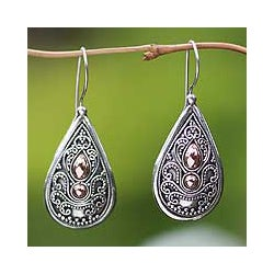 Sterling Silver Gold Accent 'Bali Antique' Dangle Earrings (Indonesia)