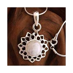 Sterling Silver 'Midnight Sun' Moonstone Necklace (India)