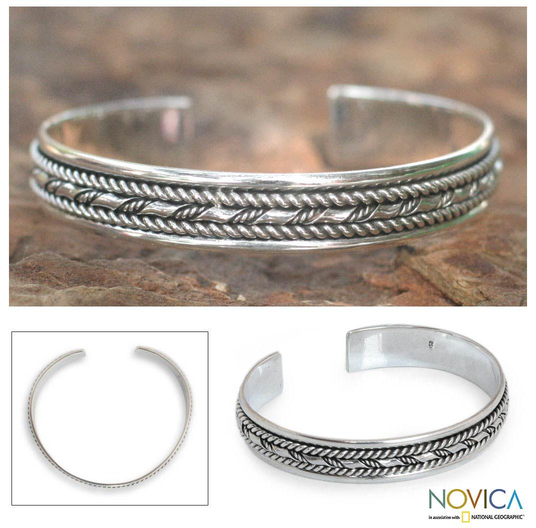 Sterling Silver 'Bamboo Illusions' Cuff Bracelet (Thailand)