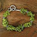 Sterling Silver 'Song of Summer' Peridot Beaded Bracelet (India)