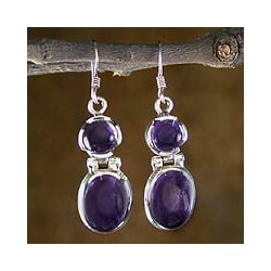 Sterling Silver 'New Delhi Duet' Amethyst Earrings (India)