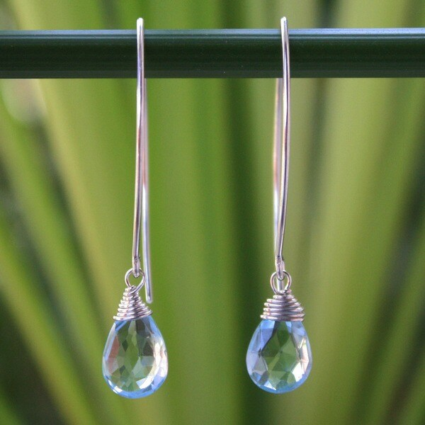Sublime Siam Faceted Blue Topaz Drops with 925 Sterling Silver Wrap Setting on Long Oval Wires Womens Dangle Earrings (Thailand)