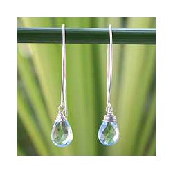 Sterling Silver 'Sublime Siam' Blue Topaz Earrings (Thailand)