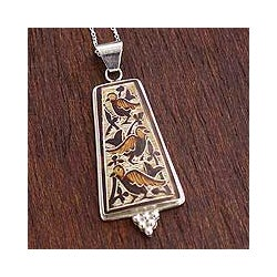 Sterling Silver 'Spring Robins' Dried Mate Gourd Necklace (Peru)