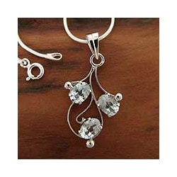 Sterling Silver 'Sparkling Bouquet' Blue Topaz Necklace (India)