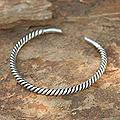 Sterling Silver Men's 'Thai Swirl' Cuff Bracelet (Thailand)