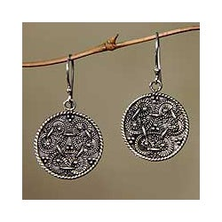 Sterling Silver 'Denpasar Treasure' Dangle Earrings (Indonesia)