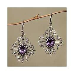 Sterling Silver 'Radiant Blossom' Amethyst Flower Earrings (Indonesia)