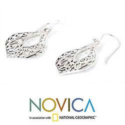 Sterling Silver 'Lace Petals' Dangle Earrings (Thailand)