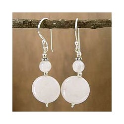 Sterling Silver 'Luminosity' Moonstone Dangle Earrings (India)