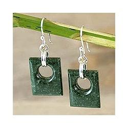 Sterling Silver 'Green Jaguar' Jade Earrings (Guatemala)