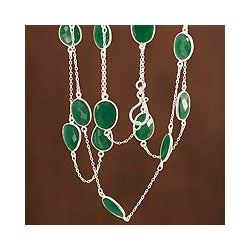 Duduma Majesty Oval Faceted Green Onyx Bezel Set Gemstones 925 Sterling Silver Long 32 Inch Womens Station Necklace (India)