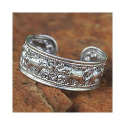 Sterling Silver 'Six Thai Elephants' Cuff Bracelet (Thailand)