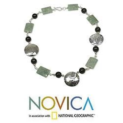 Sterling Silver 'Maya Aesthetic' Jade Necklace (Guatemala)