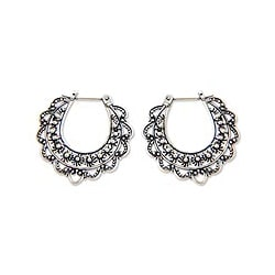 Sterling Silver 'Moon Blooms' Flower Earrings (Indonesia)