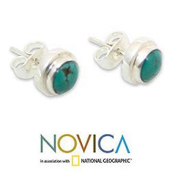 Sterling Silver 'Blue Moons' Recon Turquoise Earrings (Indonesia)