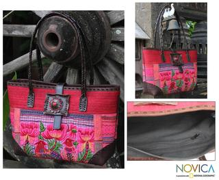 Cotton Leather 'Pheasant Romance' Medium Shoulder Bag (Thailand)