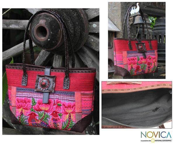 Cotton Leather 'Pheasant Romance' Medium Shoulder Bag (Thailand)