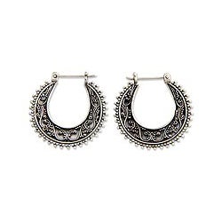 Sterling Silver 'Kuta Moon' Hoop Earrings (Indonesia)
