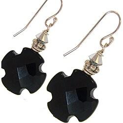 Misha Curtis Onyx Cross and Crystal Earrings