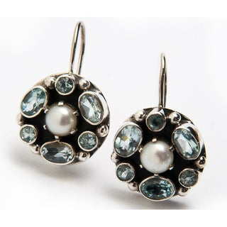 Sterling Silver Pearl and Blue Topaz Earrings (6 mm)(India)