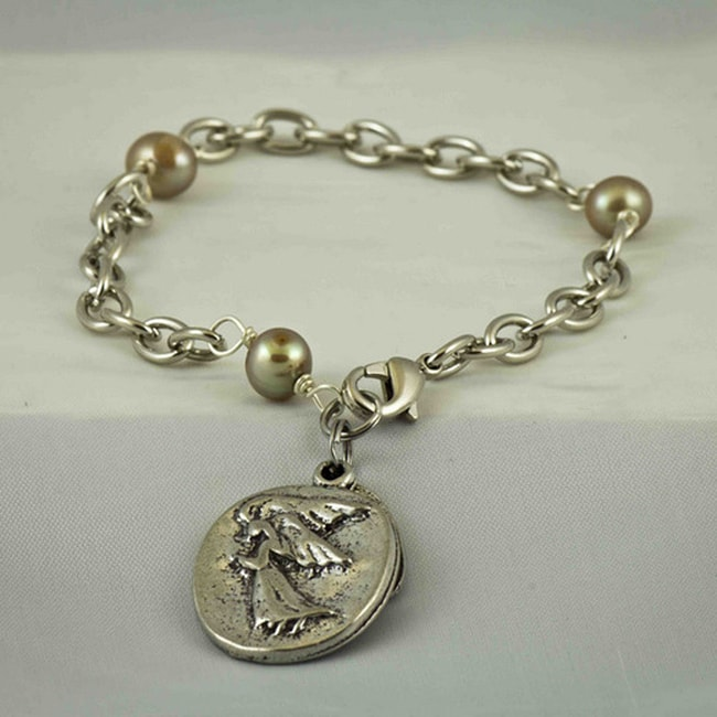 Praols Story Bracelets Silvertone 'My Guardian Angel' Glass Pearl Bracelet (USA)
